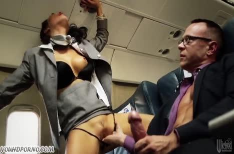 Красивые стюардессы занялись сексом с пассажиром #3